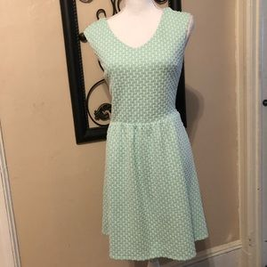 Minty green and white pattern dress